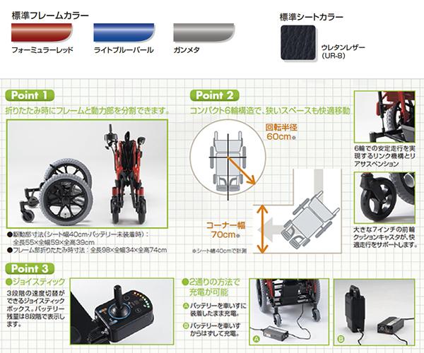 2分割コンパクト6輪電動車いす NEO-PRの主な仕様