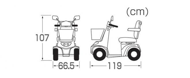 電動カート KE45のサイズ表